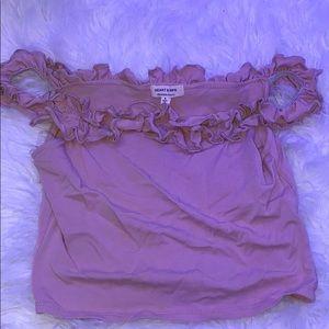 Off-Shoulder Ruffles Pink Crop Top